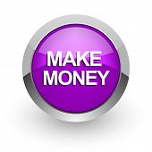 make money pink glossy web icon