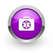 rescue kit pink glossy web icon