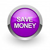 save money pink glossy web icon
