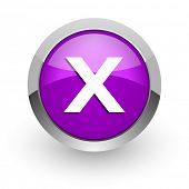 cancel pink glossy web icon