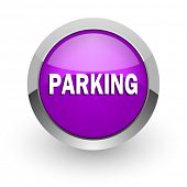 parking pink glossy web icon