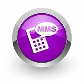 mms pink glossy web icon