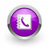 phonebook pink glossy web icon