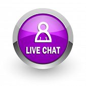 live chat pink glossy web icon