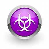 biohazard pink glossy web icon