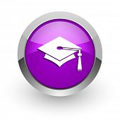 education pink glossy web icon
