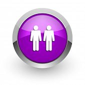 couple pink glossy web icon