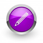 pencil pink glossy web icon