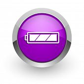 battery pink glossy web icon