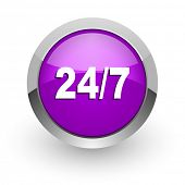 24/7 pink glossy web icon