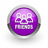friends pink glossy web icon