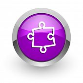 puzzle pink glossy web icon