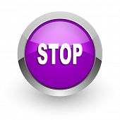 stop pink glossy web icon