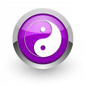 ying yang pink glossy web icon