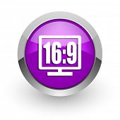 16 9 display pink glossy web icon