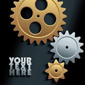 3D machine gears - vector illustration