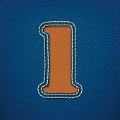 Number 1 made from leather on jeans background - vector illustration
