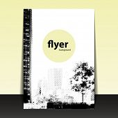 Flyer or Cover Design with Dotted Pattern - Halftone Theme: Tree in the City
