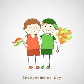 Cute little boys holding national flag and balloons on grey background for Indian Independence Day c