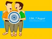 Happy young boys holding Asoka wheel on occasion of 15th of August, Indian Independence Day celebrat