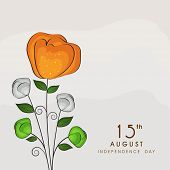 Beautiful flower design in national tricolors on grey background for 15th of August, Indian Independ