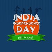 Indian Independence Day celebrations sticky design with green ribbon and stylish text INDIA on blue