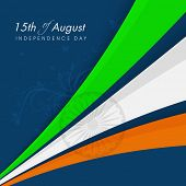 National tricolors stripes with Asoka wheel on blue background for Indian Independence Day celebrati