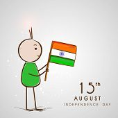 Cute little doodle holding national flag on grey background for 15th of August, Indian Independence