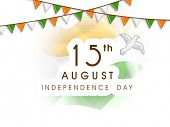 15th of August, Independence Day celebrations concept with flying pigeons, symbol of freedom on nati