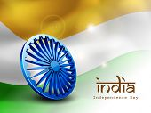 3D Asoka wheel on national flag waving background for Indian Independence Day celebrations.