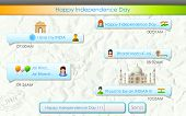 illustration of Happy Independence Day message in social media application with message Victory for