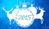 Simple Paper Art 2015 Ornament Decorative Blue Background