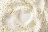 print of heart in the soft wheat flour