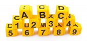 Educational cubes with different numbers and letters isolated on white