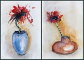 stock photo of paint pot  - Red poppies in ceramic pots panel - JPG