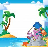 Beach frame with octopus teacher - eps10 vector illustration.