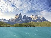 Pehoe Mountain Lake And Los Cuernos, Torres Del Paine National Park, Chile.