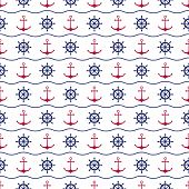 Seamless nautical background with anchors and ship wheels.