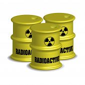 pic of radioactive  - Three yellow radioactive barrels isolated on a white background - JPG