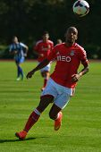 MOSCOW, RUSSIA - JULY 22, 2014: Bruno Gaspar of Benfica, Portugal in the match with OFK, Serbia duri