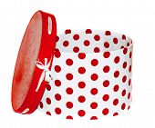 Large Round White Gift Box With Red Dots On A White Background
