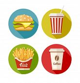 Set of flat icon with hamburger fries soda and coffee in paper cup. Eps10 vector illustration. Isola