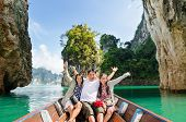 stock photo of dam  - Happy family boat trip on summer vacation in Ratchaprapha Dam Khao Sok National Park Surat Thani Province Thailand  - JPG