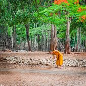 Monk doing daily cleaning routine at at the Tiger Temple in Kanchanaburi, Thailand
