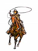 pic of wrangler  - cowboy color illustration on the white background - JPG