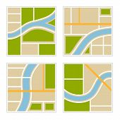 Set of Abstract City Map Illustration. Vector