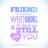 Typography shining design with quote about friendship