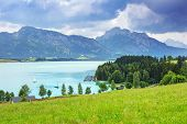 stock photo of bavarian alps  - Forggensee lake at Bavarian Alps - JPG