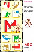 ABC learning educational puzzle - letter M (monkey)