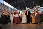 ZAGREB, CROATIA - JULY 19: Members of folk group Kupina from Brodsko posavska zupanija, Croatia duri